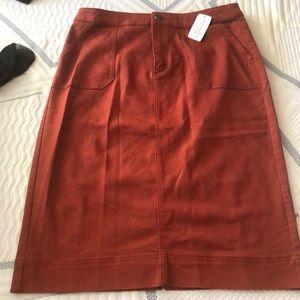 Orange jean skirt